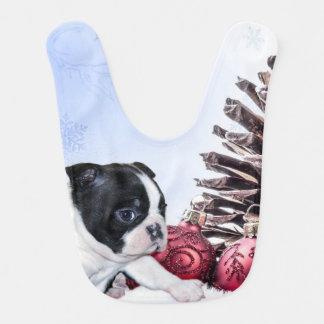 Christmas Boston Terrier Puppy Baby Bib