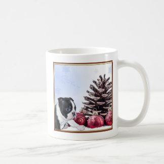 Christmas Boston Terrier Puppy Basic White Mug