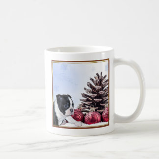 Christmas Boston Terrier Puppy Coffee Mug