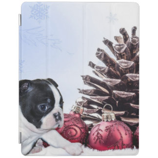 Christmas Boston Terrier Puppy iPad Cover