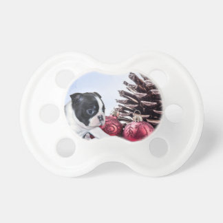 Christmas Boston Terrier Puppy Baby Pacifier