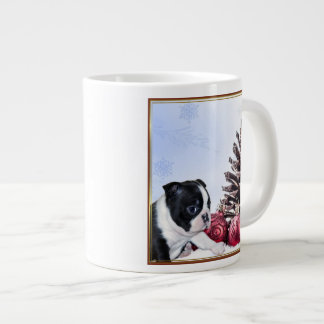 Christmas Boston Terrier Puppy Jumbo Mug