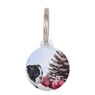 Christmas Boston Terrier Puppy Pet ID Tags