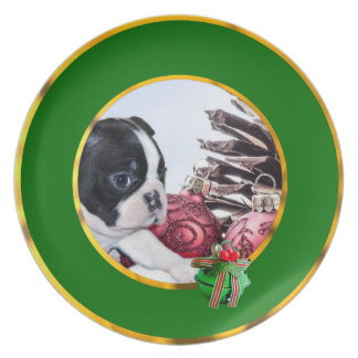 Christmas Boston Terrier Puppy Plate