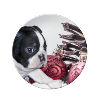 Christmas Boston Terrier Puppy Porcelain Plates