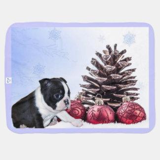Christmas Boston Terrier Puppy Pramblankets