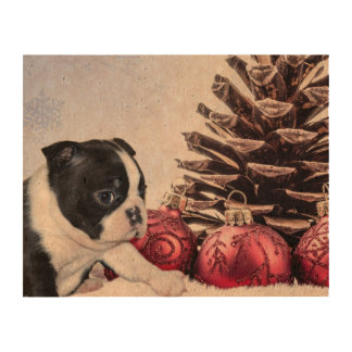Christmas Boston Terrier Puppy Cork Paper