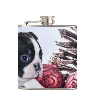 Christmas Boston Terrier Puppy Flasks