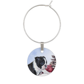 Christmas Boston Terrier Puppy Wine Charms