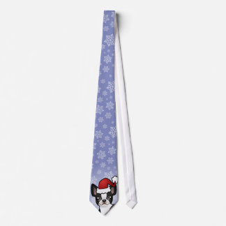 Christmas Boston Terrier Tie