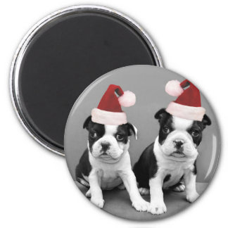 Christmas Boston Terriers Refrigerator Magnets