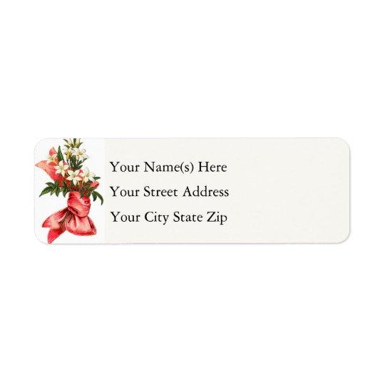 Christmas Bouquet Vintage Return Address Label