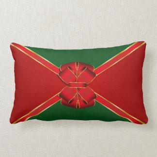 Christmas Bow Red and Green Lumbar Cushion