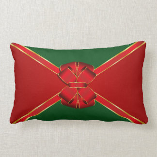 Christmas Bow Red and Green Lumbar Pillow