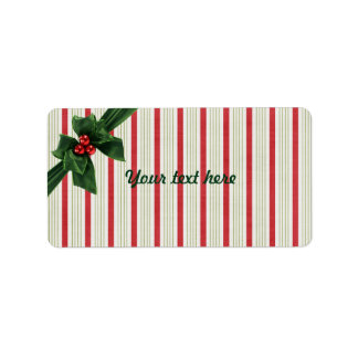 Christmas bow with striped background label
