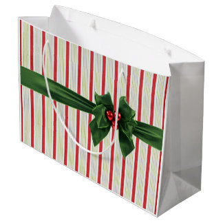 Christmas bow with striped background large gift bag