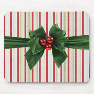 Christmas bow with striped background mouse pad