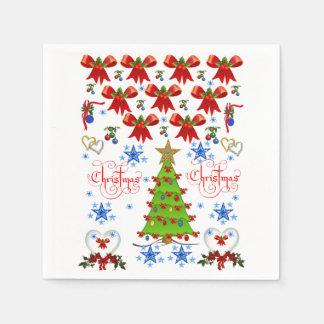 Christmas bows boxes santa claus napkins party red disposable napkins