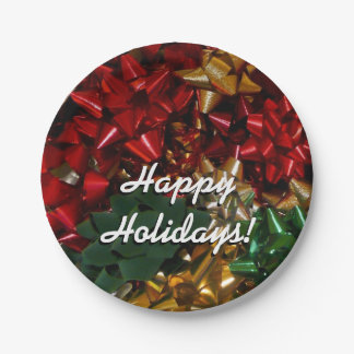 Christmas Bows Colorful Festive Holiday Paper Plate