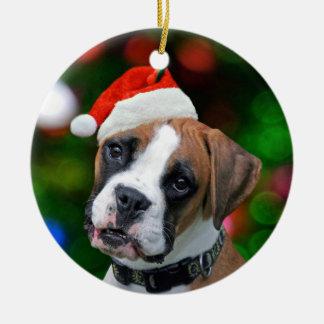 Christmas Boxer Ceramic Ornament