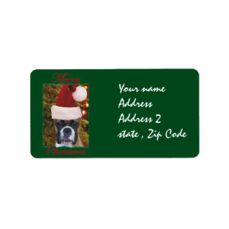 Christmas Boxer dog Address Label