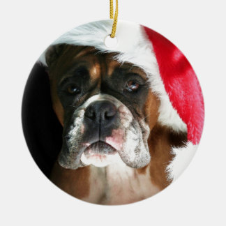 Christmas Boxer Dog Ceramic Ornament