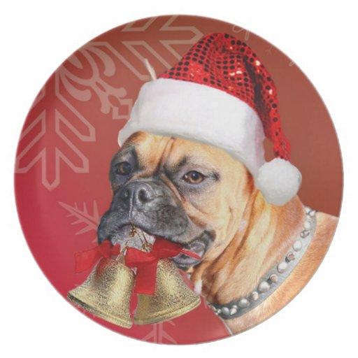 Christmas Boxer dog decorative plate
