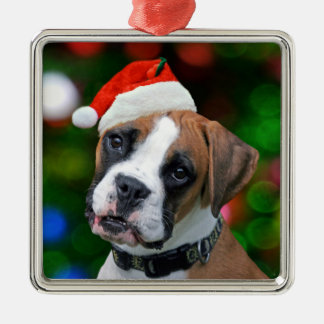 Christmas Boxer Metal Ornament