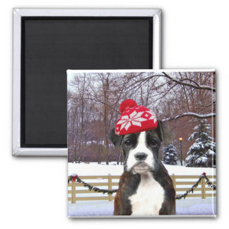 Christmas Boxer puppy dog Square Magnet