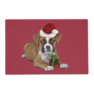 Christmas Boxer puppy Laminated Placemat