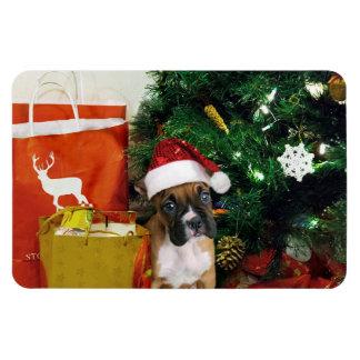 Christmas boxer puppy rectangular photo magnet
