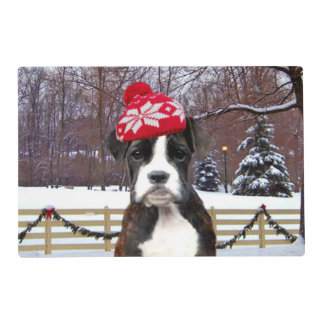 Christmas Boxer Puupy Laminated Placemat