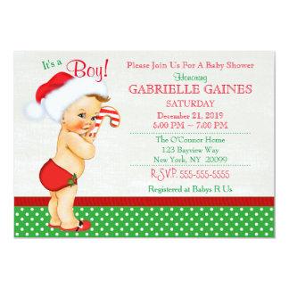 Christmas Boy Baby Shower Invitation Personalized