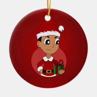Christmas boy cartoon ceramic ornament