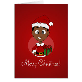 Christmas boy cartoon greeting card