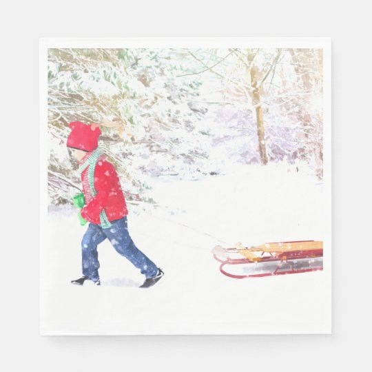 Christmas boy sled winter snow watercolor disposable napkin