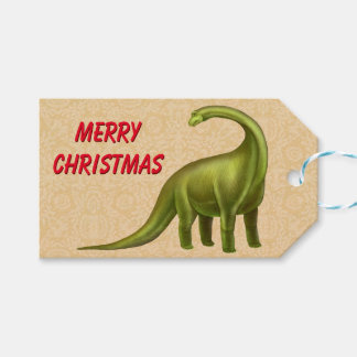 Christmas Brachiosaurus Dinosaur Gift Tags