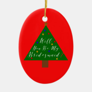 Christmas Bridesmaid Proposal with Photo Ceramic Ornament