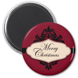 Christmas Brocade Red Magnet