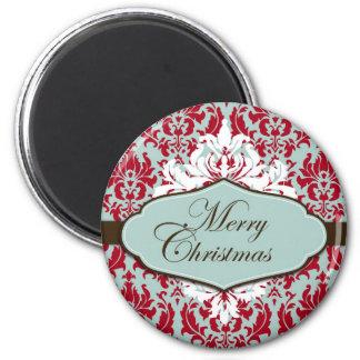 Christmas Brocade Retro Magnet