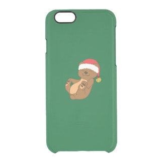 Christmas Brown Bear with Santa Hat & Jingle Bell Clear iPhone 6/6S Case