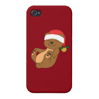 Christmas Brown Bear with Santa Hat & Jingle Bell iPhone 4/4S Cover