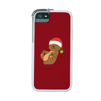Christmas Brown Bear with Santa Hat & Jingle Bell iPhone 5/5S Cases