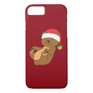 Christmas Brown Bear with Santa Hat & Jingle Bell iPhone 7 Case