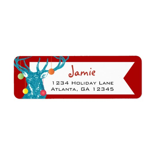 Christmas Buck Deer Return Address Return Address Label