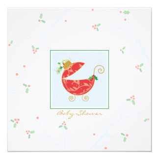 "Christmas Bulb Baby Carriage Shower Invitation 5.25"" Square Invitation Card"