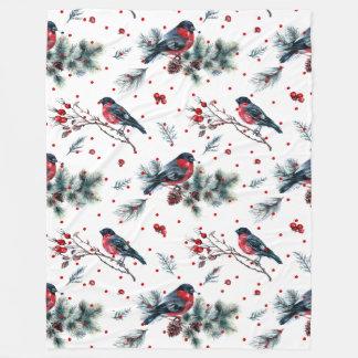 Christmas Bull-finch & Evergreens Pattern Fleece Blanket