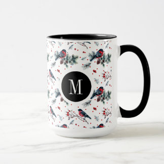 Christmas Bull-finch & Red Berries Pattern Mug