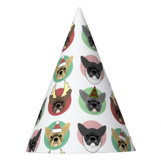 Christmas Bulldog Puppies Party Hat