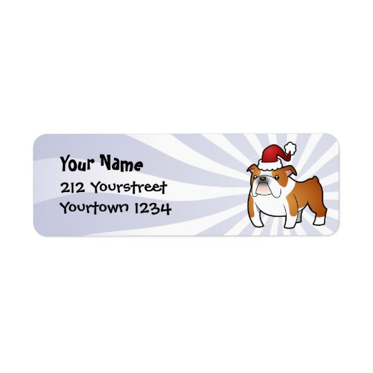 Christmas Bulldog Return Address Label
